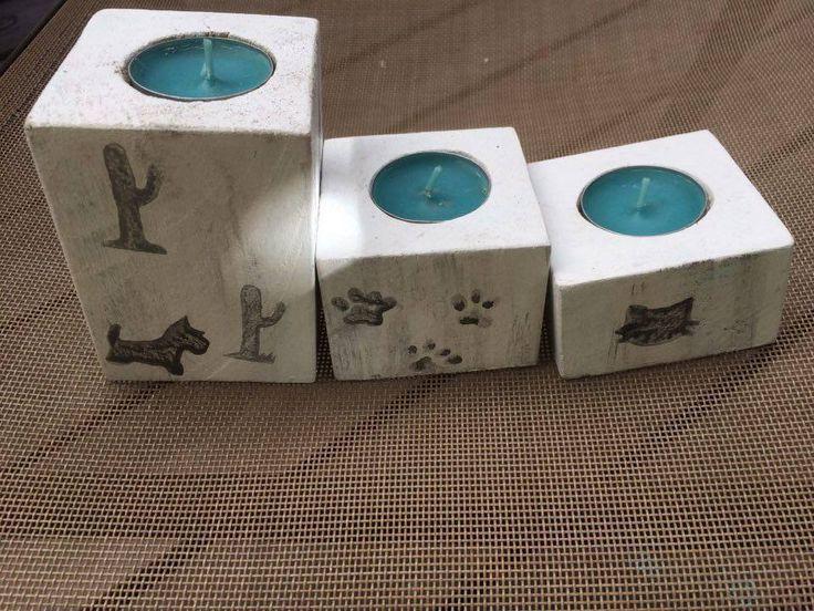 facebook: Shunshes   Porta velas de madera reciclada