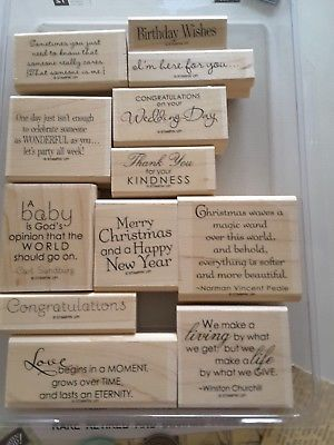 OCCASIONAL-QUOTES-Stampin-039-Up-12-Mounted-Rubber-Stamps-Occasion-and-Holiday