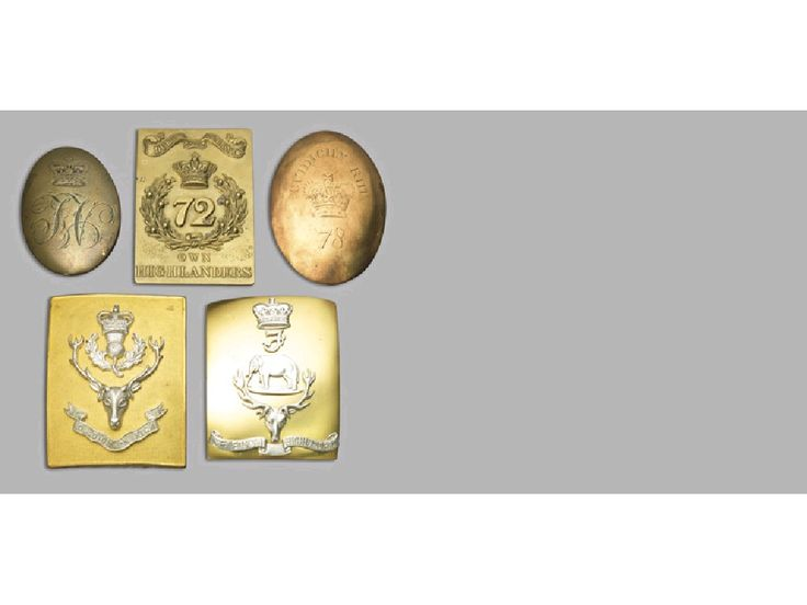 A COLLECTION OF SHOULDER BELT PLATES RELATING TO THE SEAFORTH HIGHLANDERS AND THE QUEEN'S OWN HIGHLANDERS