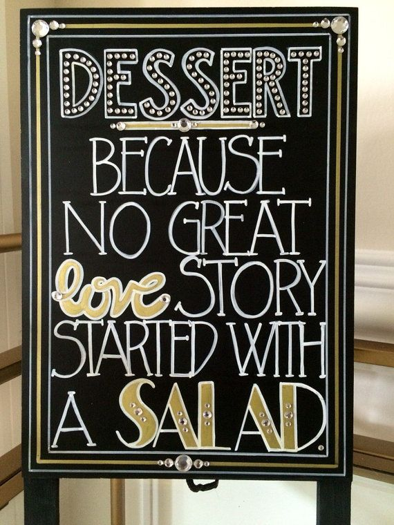 Having a Roaring Twenties themed or Great Gatsby wedding?! Want to add some glitz, glamour, and that chic extra touch to your evening party event but keep it light hearted and hilarious?! Then you need to let your guests know that Dessert is the Reason and with an Explanation like that, you need a custom created sign!!! This Dessert sandwich board sign was designed with your occasion in mind. Spice up your wedding or party table décor using this fun Art Deco font inspired sign. This 5 x 7…
