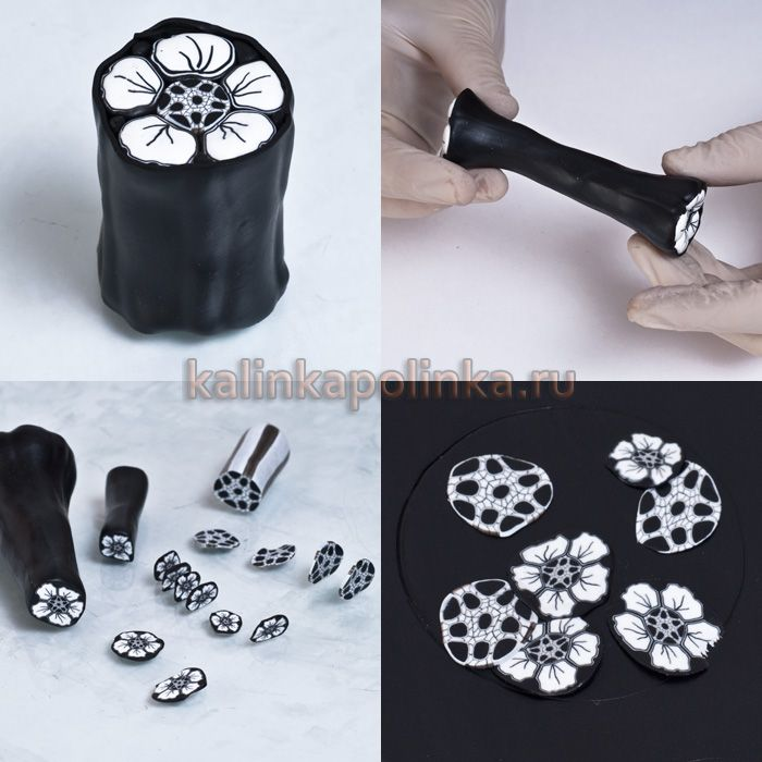 black-white flower cane tutorial