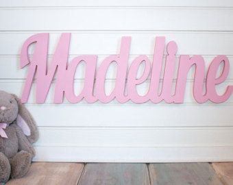 Nursery Name Sign Baby Name Plaque Large by MoonSnailCreations1