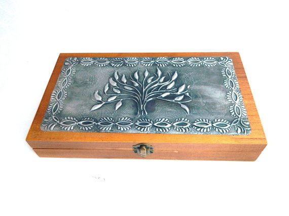 wood and pewter artist brush box crochet hook box tool by Loutul