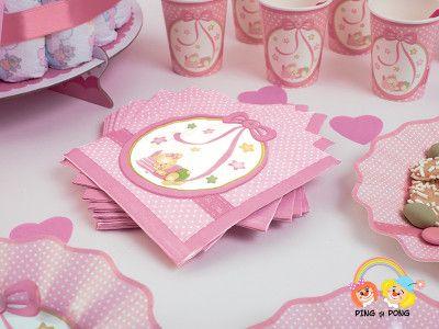 Servetele pentru petrecere copii roz cu ursulet