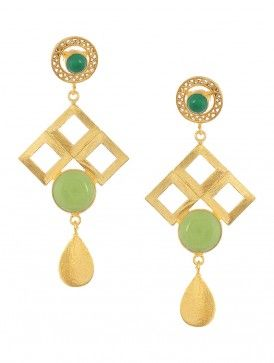 Green Onyx and Prehnite Gold-plated Brass Earrings