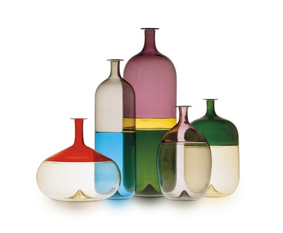 """""""Bolle"""" bottles (1966-67) of one of my favourite finnish designers Tapio Wirkkala. He really didn't limit his imagination. These bottles are a collaboration with Murano-based glassworks Venini."""