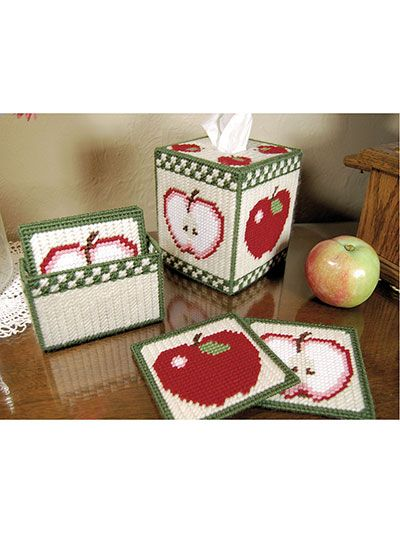 Country Apples Tissue Box and Coasters                                                                                                                                                                                 More