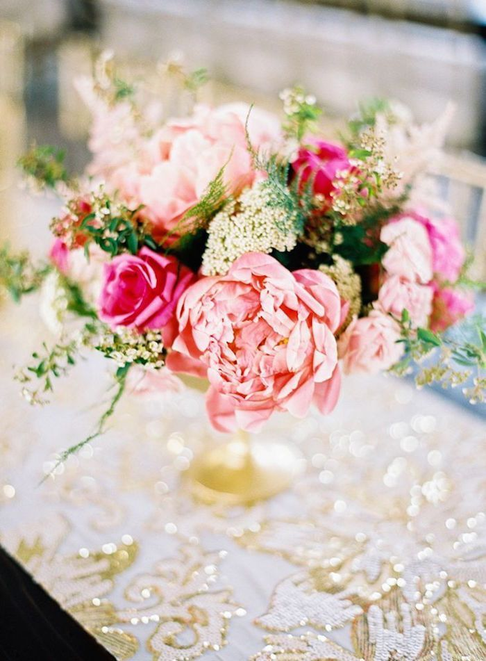 Blush and Fuchsia Centerpiece with Gold Sequin Decor    #weddingdecor #weddingdetails #glitter #wedding #weddings #weddingideas #weddingcolors #gold #metallic #sparkle #floraldesign #flowers #centerpiece #sequins