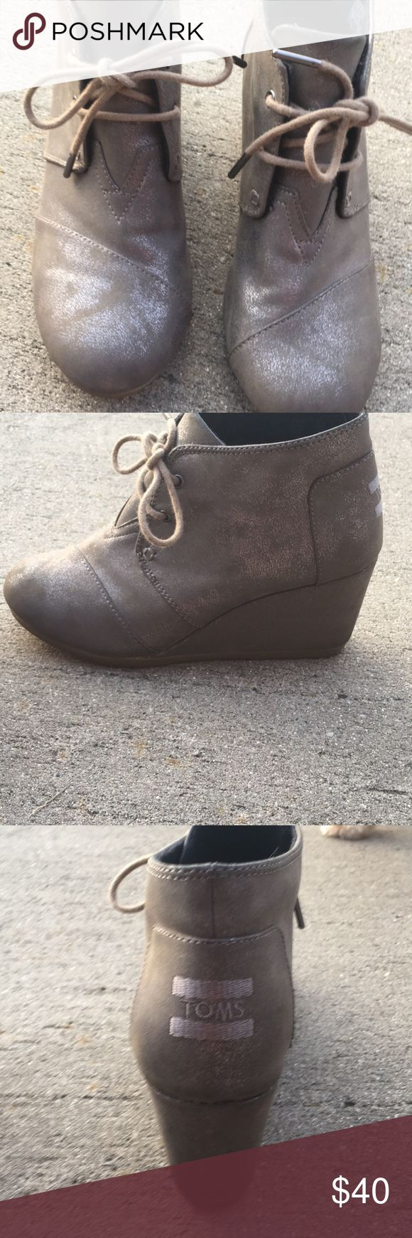 TOMS wedge booties Size 8. Only worn a couple of times. In excellent condition. Toms Shoes Ankle Boots & Booties