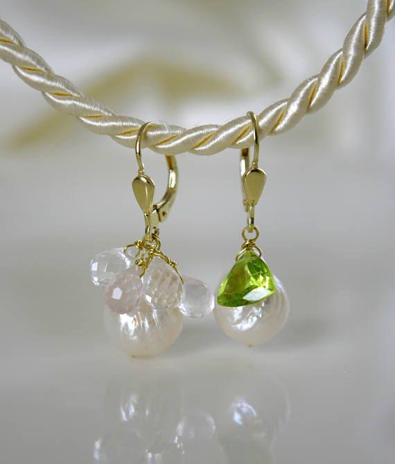 Barock Perlen Süßwasserperlen Ohrringe mit Peridot oder Quarz