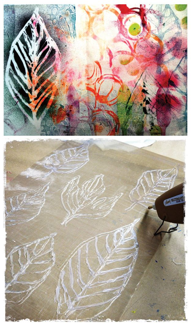 DIY :: Simple Hot Glue Gun Printmaking (from Printmaking Unleashed by Traci Bautista)  http://www.artistsnetwork.com/articles/art-demos-techniques/a-simple-tool-for-printmaking