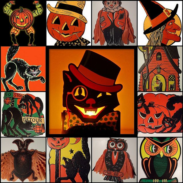 tilt vintage beistle halloween decorations by phillaine - Antique Halloween Decorations