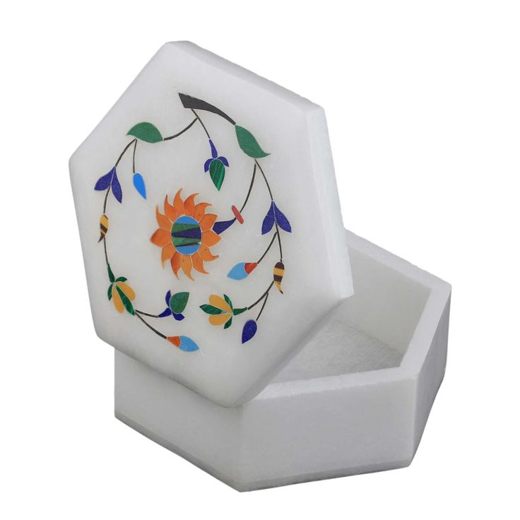 Amazon.com Marble Stoneware Box with Lid Inlay Flower Arrangements Handmade by Artisan  sc 1 st  Pinterest & 83 best Jewelry Box images on Pinterest | Indian jewellery online ... Aboutintivar.Com