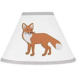Grey and White Woodland Animal Fox Toile Girl or Boy Baby Childrens Lamp Shade