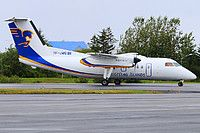 Flugfelag Islands - Air Iceland De Havilland Canada DHC-8-202Q Dash 8 TF-JMG aircraft, skating at Iceland Keflavik International Airport. 16/08/2016.