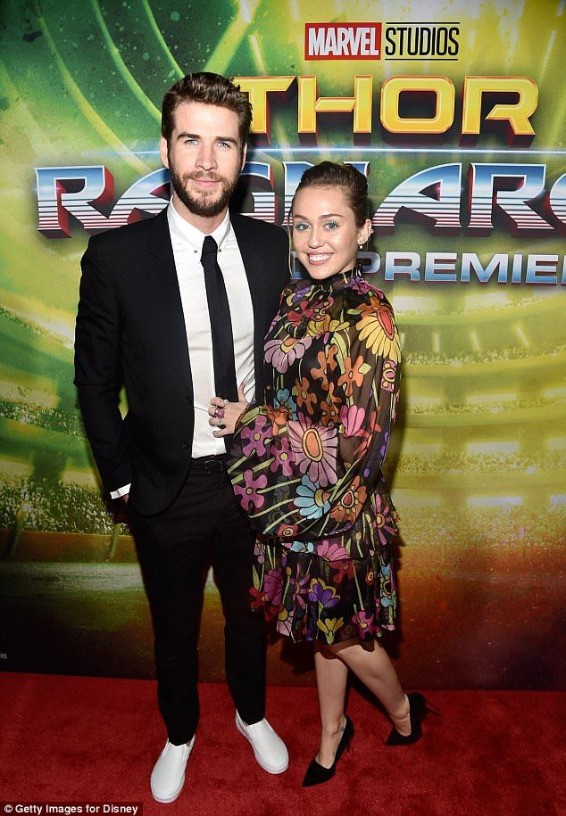 77da05957c52 Miley Cyrus and Liam Hemsworth at Thor  Ragnarok premiere