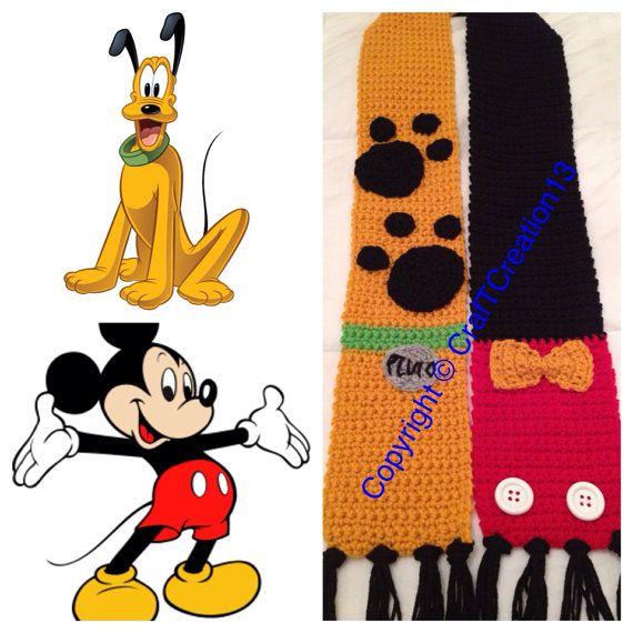 Pasar el rato con estos amigos mejor, Pluto y Mickey Mouse bufanda hoy! Hago bufandas todos lo suficiente para envolver alrededor del cuello :) Se puede hacer en tamaños más pequeños también, y precio del curso depende del tamaño