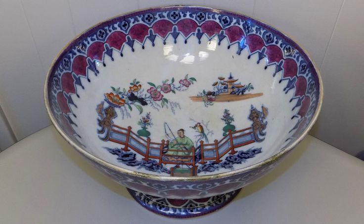 "rare Royal Doulton ? Transferware 16"" Punch Bowl Chinese Asian motif porcelain"