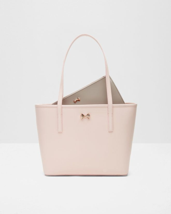 Micro bow small leather shopper bag - Pale Pink | Bags | Ted Baker UK