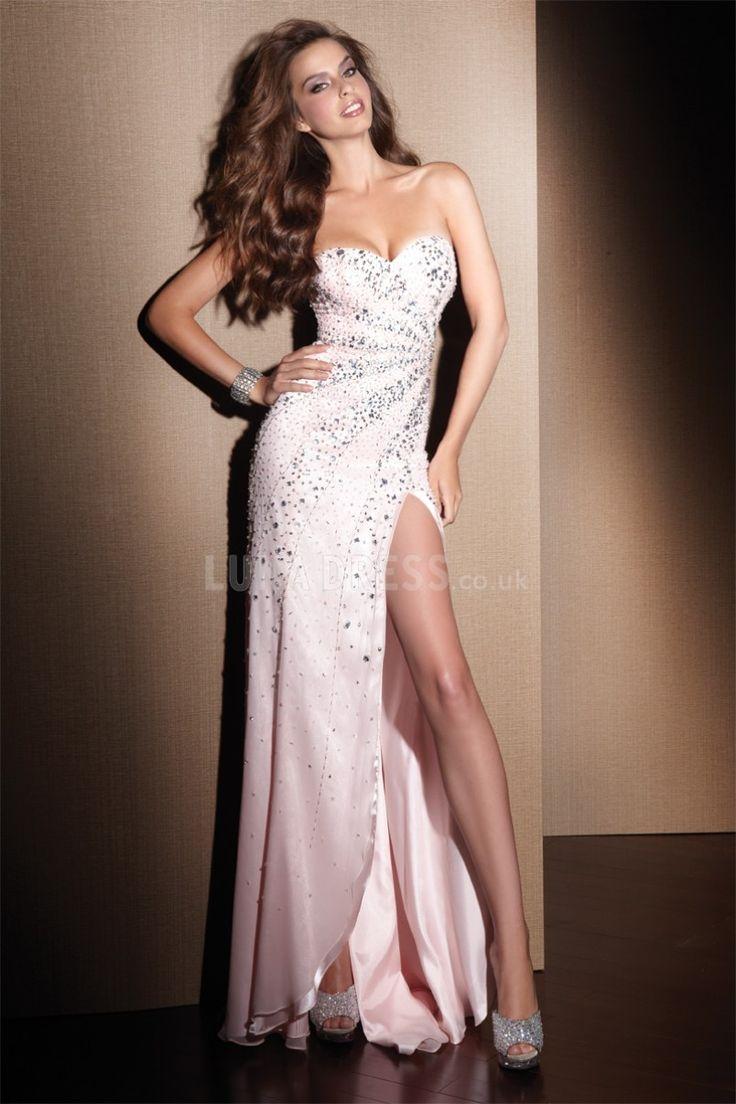 Sheath/ Column Chiffon Sweetheart Floor Length With Rhinestone Dress For Prom