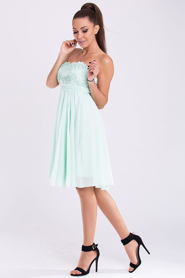 Pastel Lace Chiffon Party Dress - Chiffon Bandeau Dresses Online.