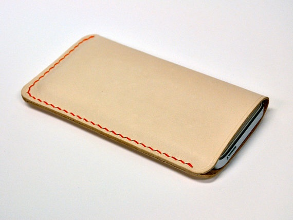 Handmade iPhone 5 Leather Case iPhone Sleeve, Pearl White with Orange Stitches.