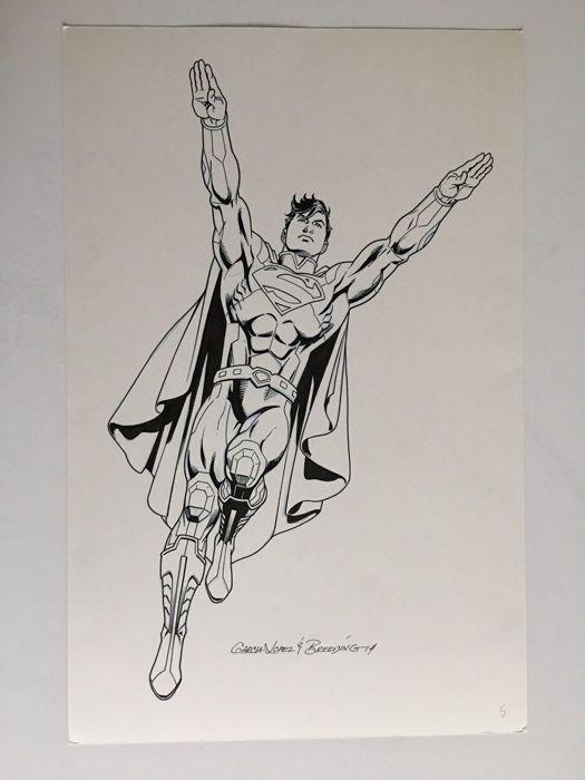 Brett Breeding / Garcia Lopez - Original Drawing - DC Licensing Art - Superman - (2014) - W.B.