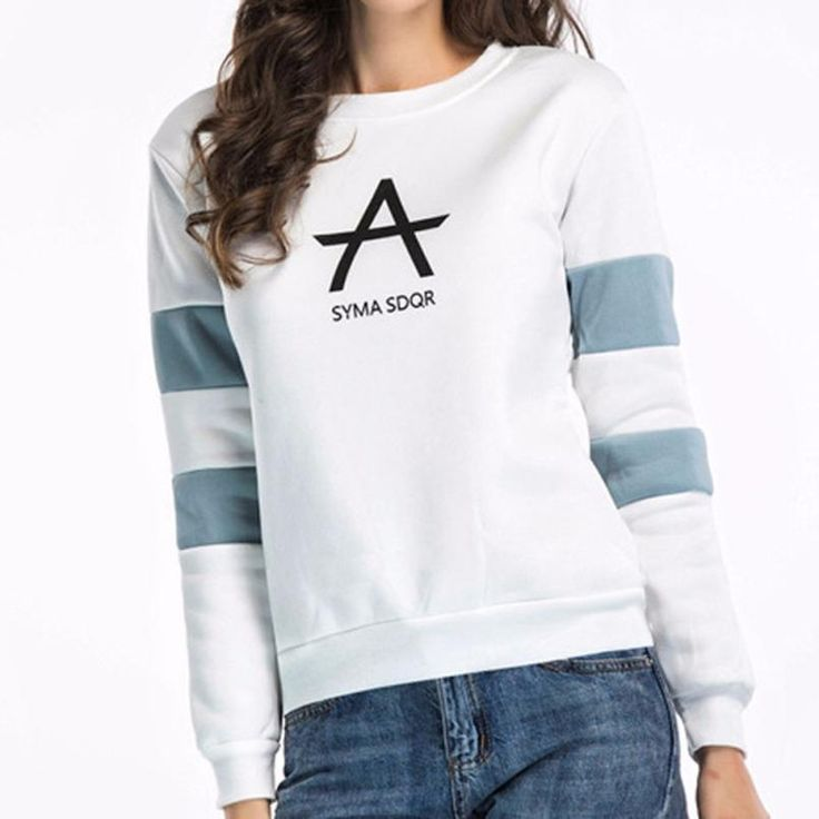 Fashion New sweatshirt Women Long Sleeve Printed Letters Round Neck Loose  Blouse Casual Striped Tops sudaderas mujer 2017