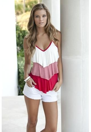 : Club Dresses, Summer Shirts, Tiered Stripes, White Shorts, V Neck Cami, Summer Outfits, Tanks Tops, Solid V Neck, Body Central