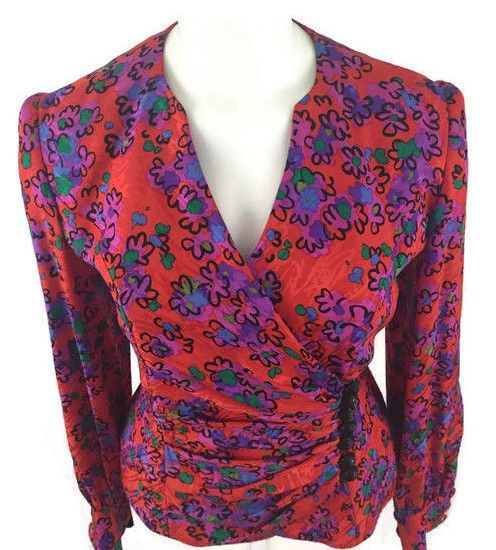 Raul Blanco VTG 80's Vivid Abstract Bright Floral Print Silk Blouse Top Size 8 #RaulBlanco #Wrap #EveningOccasion