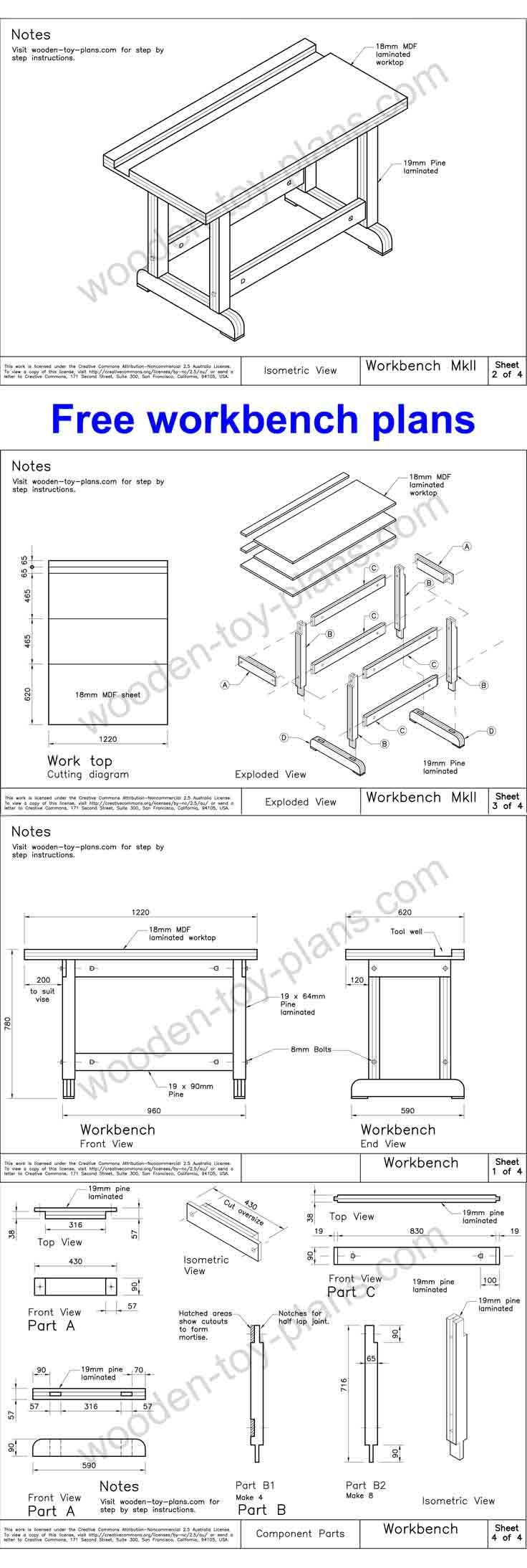Very solid workbench plans available at no charge….