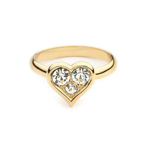 Triple Crystal Heart Ring with Swarovski® Crystals Gold Plated