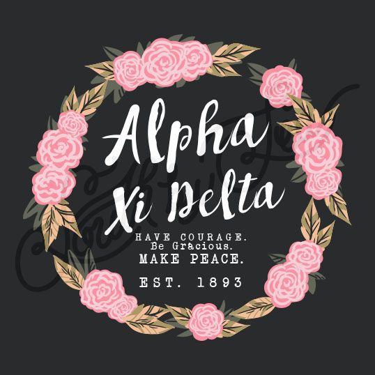 Sorority Recruitment Alpha Xi Detla Rose Floral Flower Wreath South By Sea