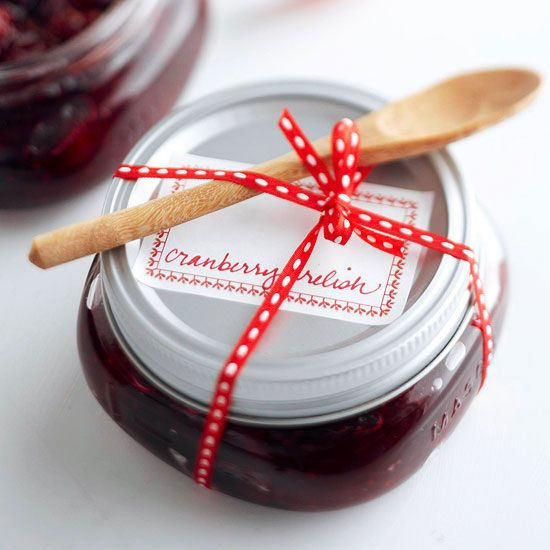 Homemade Gifts * Chunky Cranberry Relish - http://www.bhg.com/recipe/relishes/chunky-cranberry-relish/