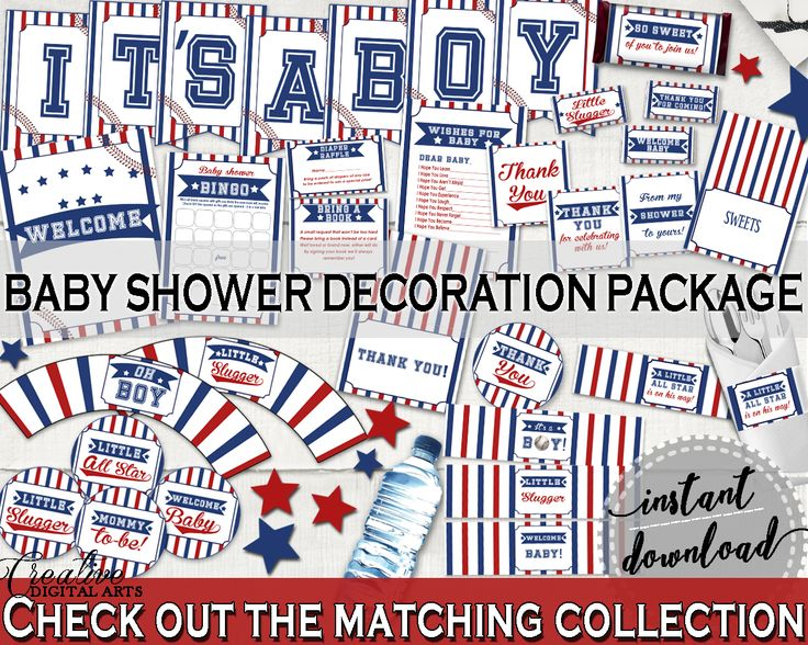 Decorations Baby Shower Decorations Baseball Baby Shower Decorations Baby Shower Baseball Decorations Blue Red instant download YKN4H #babyshowergames #babyshower