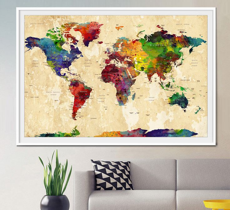 WORLD MAP, Large World Map, Watercolor World Map, World Map Art, Wall Art, World Map Poster, Home decor, map of the world, Art, Travel (L25) by FineArtCenter on Etsy https://www.etsy.com/listing/237947081/world-map-large-world-map-watercolor