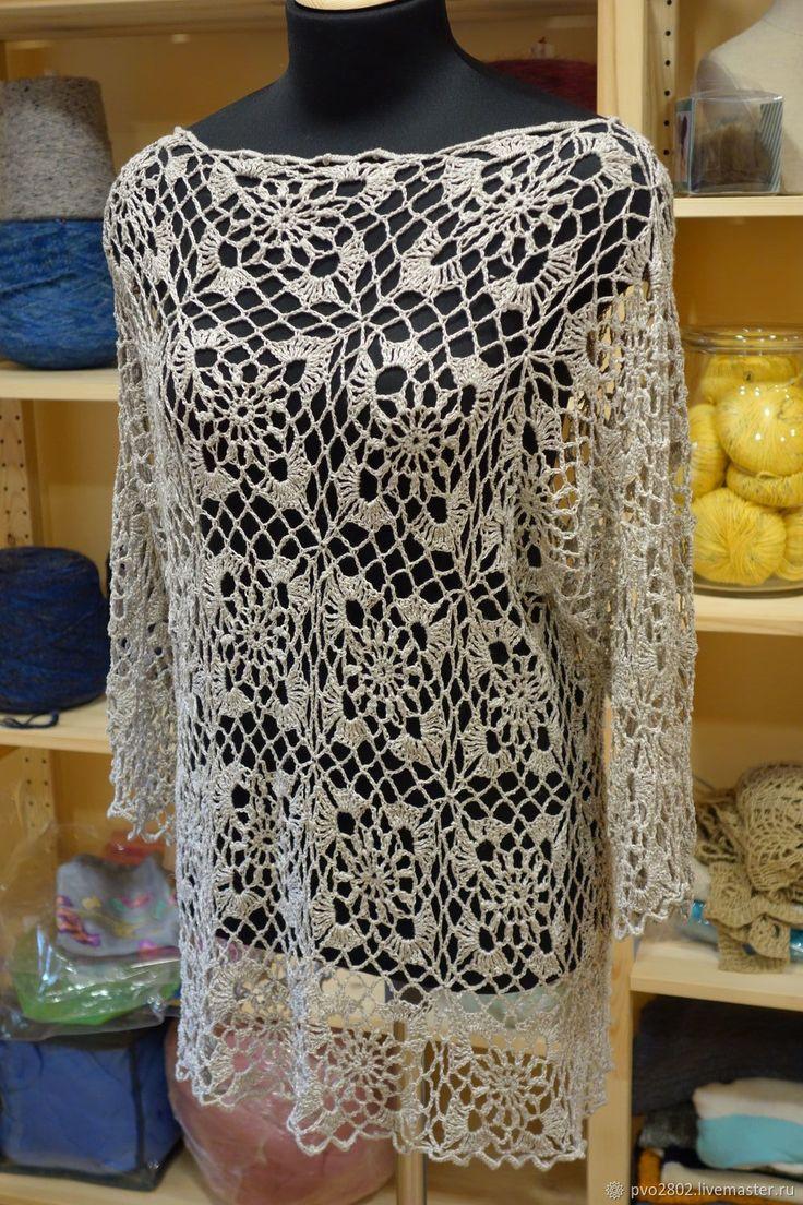 Купить Ажурная Туника - серый, туника, для офиса, для отдыха, однотонный, для работы, джемпер, платье
