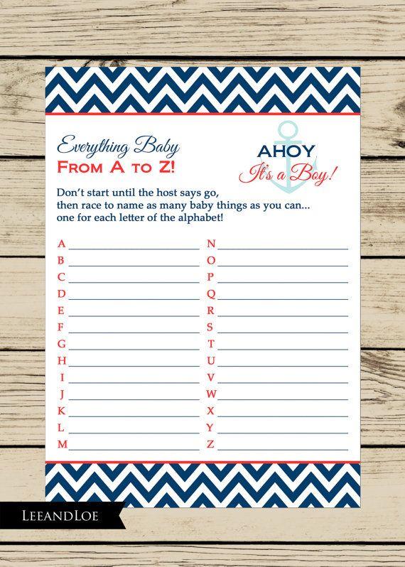 Printable Shower Game Key Alphabet Answer Baby