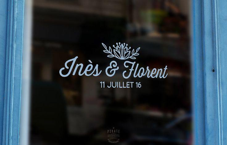 Stickers Voiture Mariage Personnalisé - Prénoms & Fleur