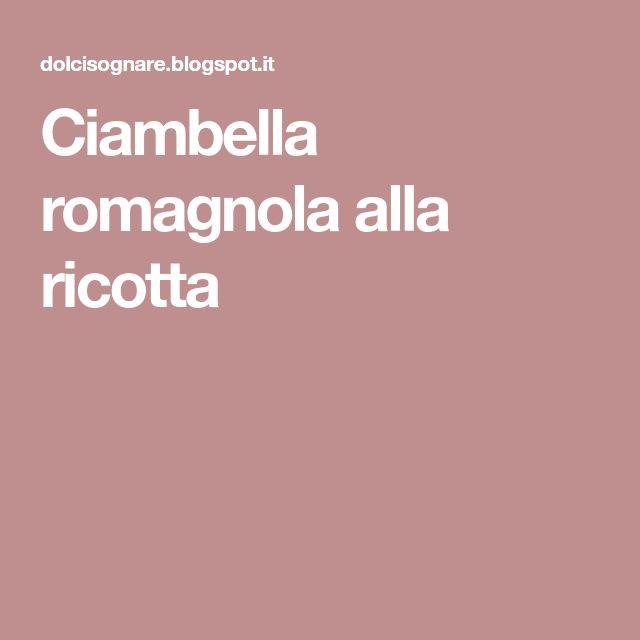 Ciambella romagnola alla ricotta