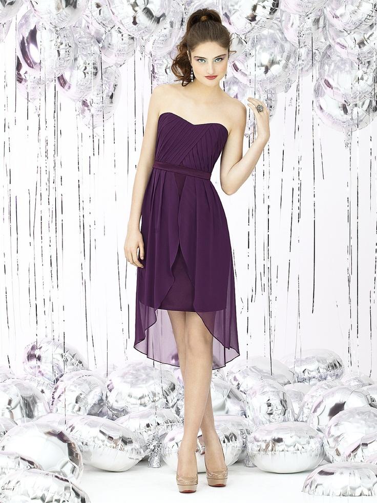 2013 Hot Sale Sheath/Column Chiffon Strapless Asymmetrical Ruching Burgundy Cocktail dress (UKLF258)