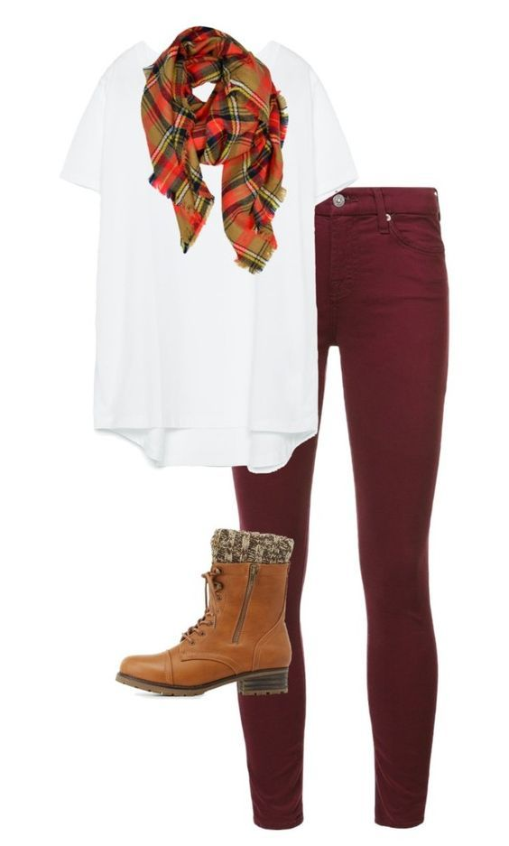 #fall #outfits / Plaid Scarf + Burgundy Skinny Jeans