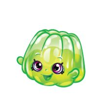 """Wobbles (Shopkins 1-083, 1-093) Wobbles is a dark green colored gelatin """"blob"""". Her variant is dark blue.  Wobbles is a common Party Food Shopkin from Season One."""