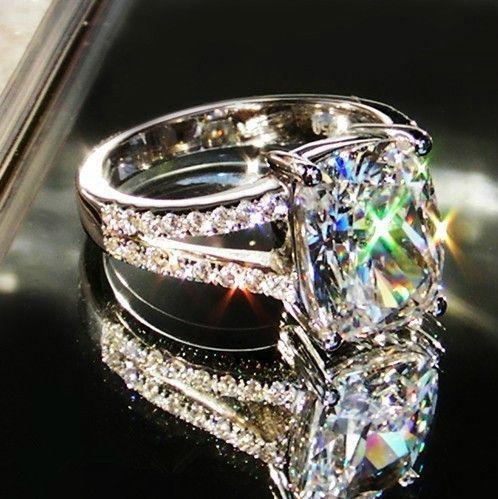 3.85CT 18K white Gold Cushion Shape Wholesale Engagement Rings for women SONA Lovely diamond ring for anniversary Xmas gift