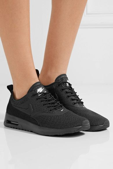 Nike - Air Max Thea Suede-trimmed Textured-knit Sneakers - Black - US9.5