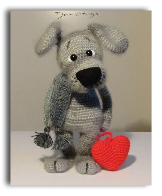 Puppy with Heart Valentine's Day gift OOAK Stuffed Animals от Tjan, $55.00