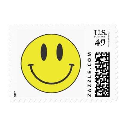 Yellow Happy Smiley Face - Attitude Happiness Postage - love cards couple card ideas diy cyo