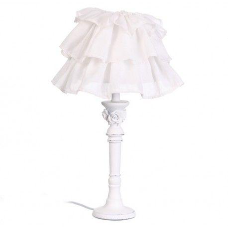 Iluminación para habitación infantil. Lámpara de mesa infantil con estructura de madera y pantalla de tejido con volantes color blanco:      Medidas disponibles:         20x20x50 cm         20x20x46 cm