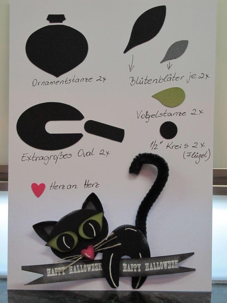 Stampin UP! Stanzkunst/Punch Art Scary Cat / Halloween Katze