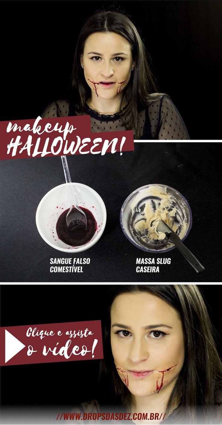 Maquiagem de Halloween: Como fazer cicatrizes e sangue falsos http://www.dropsdasdez.com.br/drops-video-2/cicatriz-sangue-falso-caseiro-maquiagem-de-halloween/